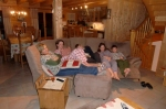 Sitting comfortably in thechalet