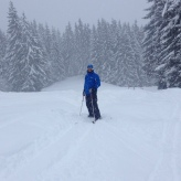 Big Willy in the back country!! Well, Piste B - the run down to Morzine. Yep, there was no-one on it - cos it was shut