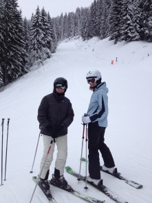 Elisa and Jo on crowded slopes - NOT!!