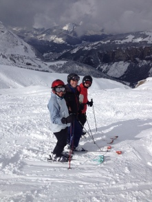 Old friends Nicki, Mark & Tim - All good skiers. Twas a great powder morning!!