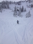 Nicki off piste near the new Brochaux chair