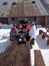 Chocolate in the sun at the traditional Buvette - half way to Morgins