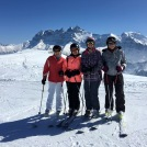 Trad foto - Cath, Alison, Felicity & Val with the 'Dents du Midi' behind